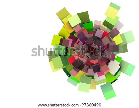 3d render cube floral pattern in green and purple on white - stock photo