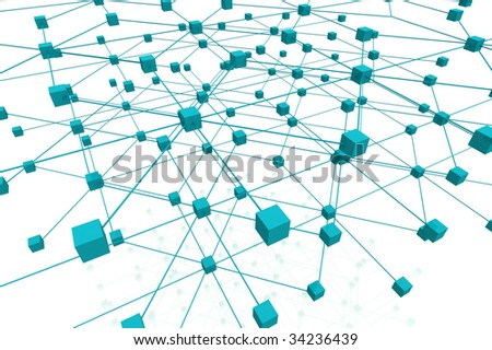 3D Render Cubes With Connections - stock photo