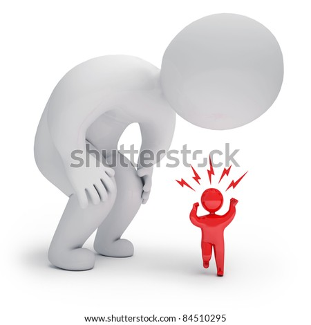 3d render curious person - stock photo