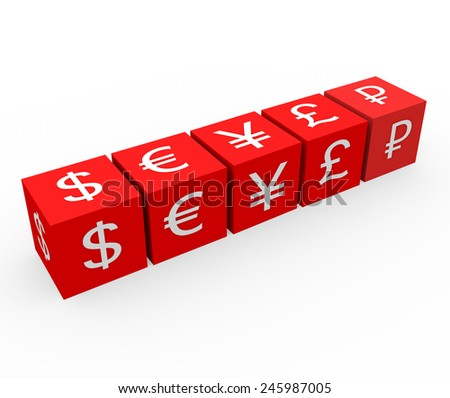 3d render currency symbols concept with five red dices with dollar, euro, yen, pound, ruble symbols on a white background.  - stock photo