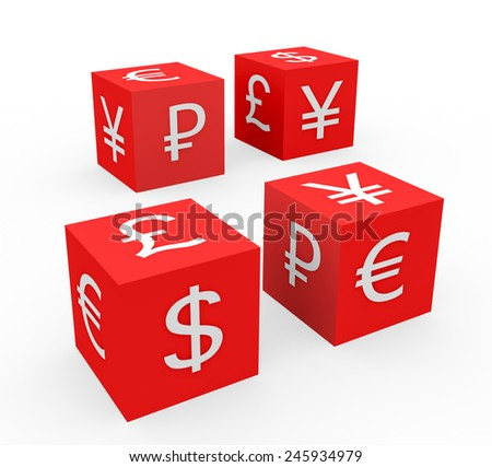 3d render currency symbols concept with four red dices with dollar, euro, pound, yen, ruble symbols on a white background.  - stock photo