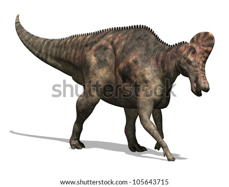 3D render depicting a Corythosaurus dinosaur, which lived during the Cretaceous period - isolated on white.