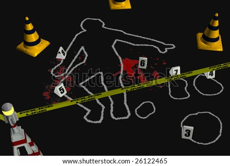 3D render depicting a crime scene with a chalk body outline and police tape. - stock photo