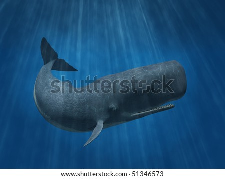 3D render depicting a sperm whale undersea. - stock photo