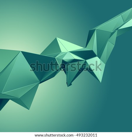 3d render, digital illustration, emerald green abstract faceted crystal background, dynamic structure, modern technology wallpaper