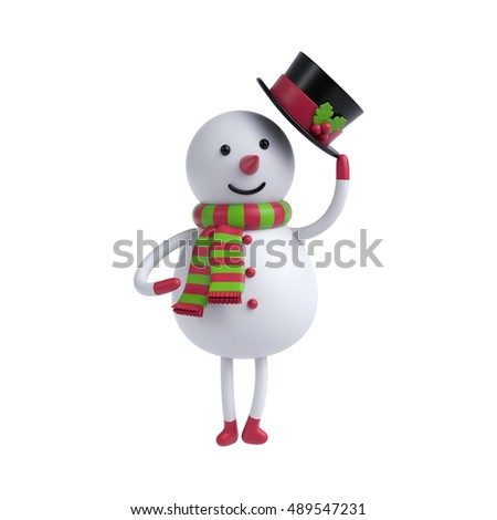 3d render, digital illustration, funny snowman holding hat, Christmas toy, holiday clip art isolated on white background