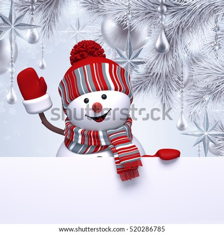 3d render, digital illustration, happy snowman character, decorated Christmas tree, hanging ornaments, balls, winter holidays, silver background, blank banner, greeting card template