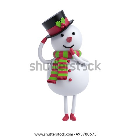 3d render, digital illustration, shy snowman holding hat, cartoon character, Christmas toy, holiday clip art isolated on white background