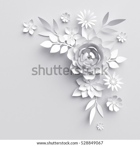 3 d render digital illustration white paper stock illustration 3d render digital illustration white paper flowers background wedding decoration bridal bouquet junglespirit Choice Image