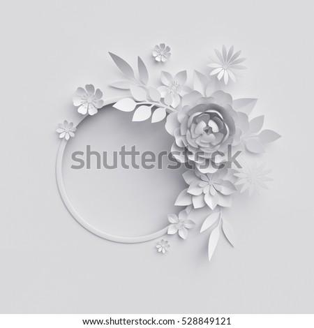 3d render digital illustration white paper stok llstrasyon 3d render digital illustration white paper flowers background wedding decoration bridal bouquet mightylinksfo
