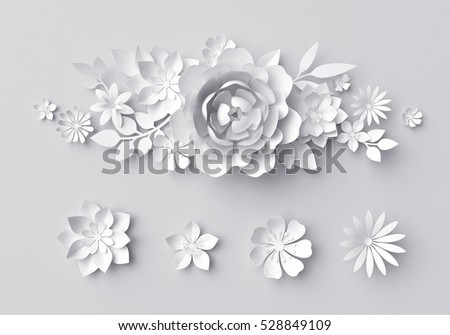 3d render, digital illustration, white paper flowers background, wedding decoration, bridal lace, floral design elements