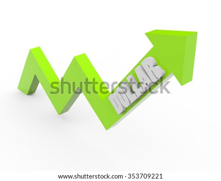 3d render dollar money with a green arrow on a white background.  - stock photo