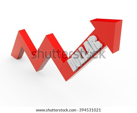 3d render dollar money with a red arrow on a white background.  - stock photo