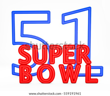 3d render 51 edition of Super Bowl 2017 on a white background.