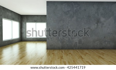 3D render Empty room with laminate flooring and concrete wall