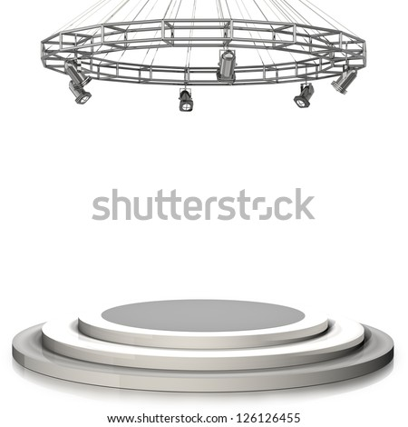3d render. Empty stage isolated on white background High resolution - stock photo