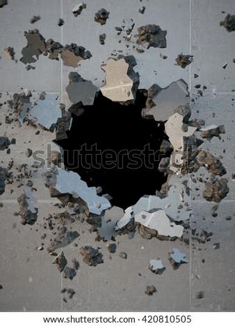 3d render, explosion, broken concrete wall, bullet hole, destruction, abstract background - stock photo