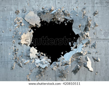 3d render, explosion, broken concrete wall, bullet hole, destruction, abstract background
