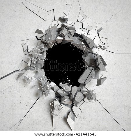 3d render, explosion, cracked concrete wall, bullet hole, destruction, abstract background - stock photo