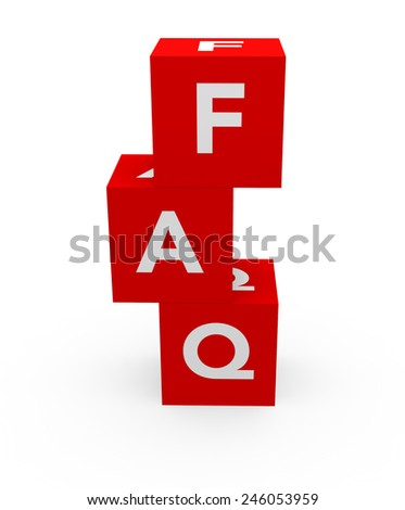 3d render FAQ (Frequently Asked Questions) letters in three red dices on a white background.  - stock photo
