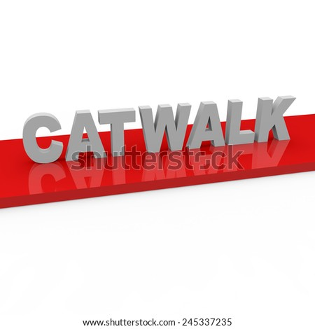 3d render Fashion Catwalk concept with catwalk words on red runway on a white background.  - stock photo