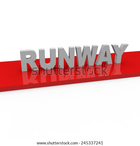 3d render Fashion Runway concept with runway words on red runway on a white background.  - stock photo