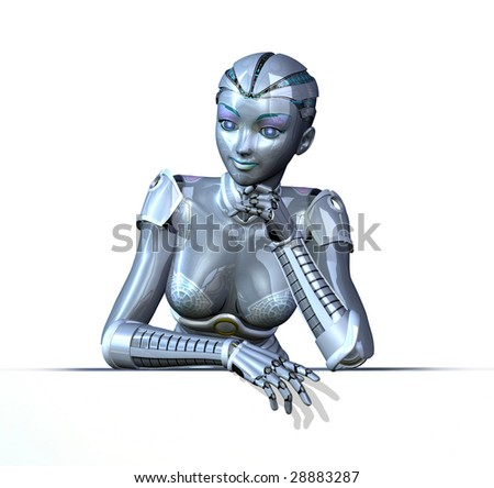3D render featuring a female robot in a relaxed pose; leaning on an edge.