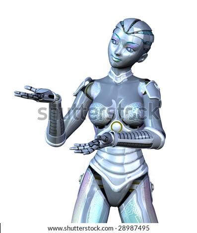 3D render featuring a female robot, posed as if she is presenting an object. - stock photo