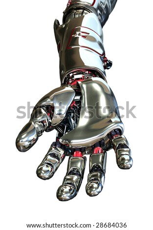 3D render featuring a robotic arm with hand, reaching forward, positioned as if it is holding something. - stock photo