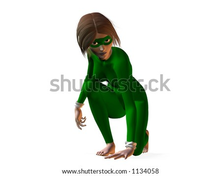 3d render female hero - stock photo