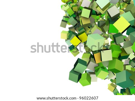 3d render floating cubes in multiple shades of green - stock photo