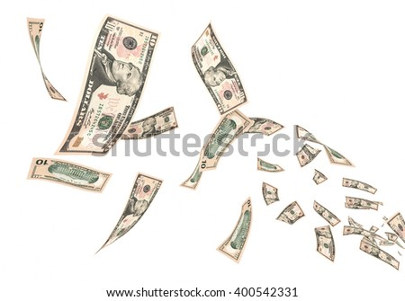 3d render Fly Ten dollar banknotes close-up (isolated and clipping path) - stock photo