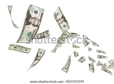 3d render Fly Twenty dollar banknotes close-up (isolated and clipping path) - stock photo
