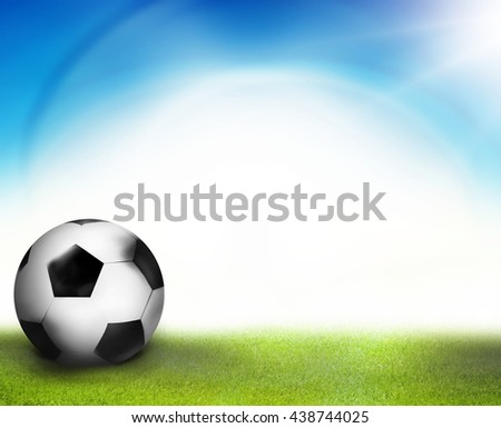 3D render football soccer sunny sky ocean design