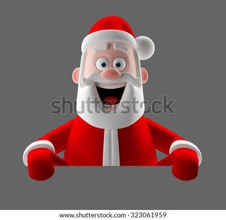 3D render funny cartoon character of Santa Claus, happy christmas icon, happy Grandpa isolated on white background