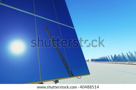 3D render - futuristic solar power plant on concrete platform; close-up shot with depth of field effect. - stock photo