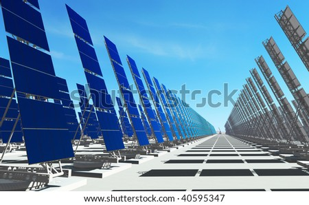 3D render - futuristic solar power plant on concrete platform;  number of solar panels to the horizon. - stock photo