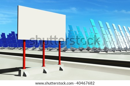 3D render - futuristic solar power plant on concrete platform. Red billboard (copyspace). - stock photo