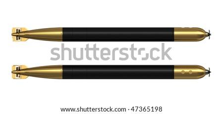 3d render german ww2 torpedo G7e - stock photo