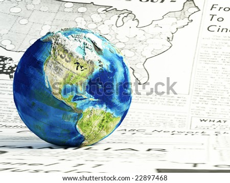 3d render.Global news concept.  earth globe made of differents newspapers on a newspaper page. - stock photo