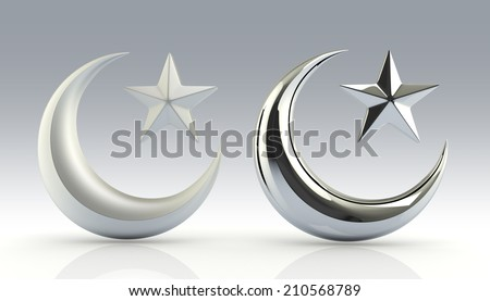3D render glossiness and reflection white golden Islamic star and crescent in isolated background with work paths, clipping paths included - stock photo