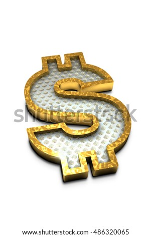 3D Render. gold dollar sign with diamond. Image contains
