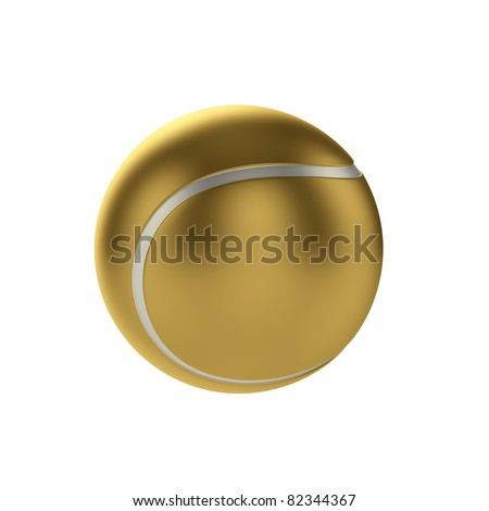 3d render gold tennis ball isolated on white background - stock photo