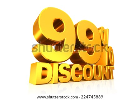 3D render gold text 99 percent discount on white background with reflection.