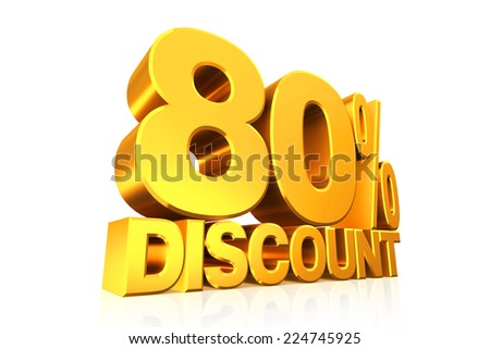 3D render gold text 80 percent discount on white background with reflection.