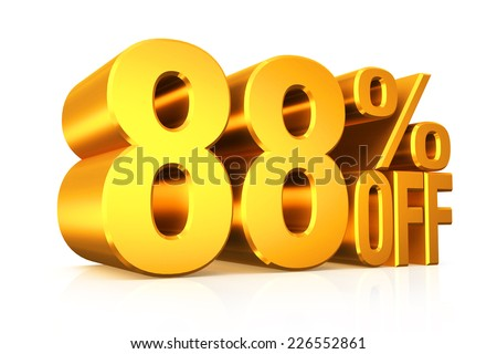 3D render gold text 88 percent off on white background with reflection.