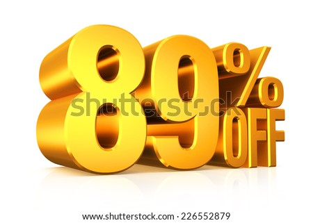 3D render gold text 89 percent off on white background with reflection.
