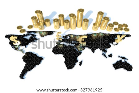 3d render golden currency symbols and coins on World Map - stock photo
