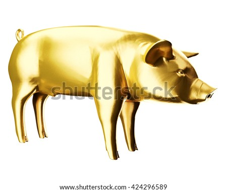 3d render golden fat pig - stock photo