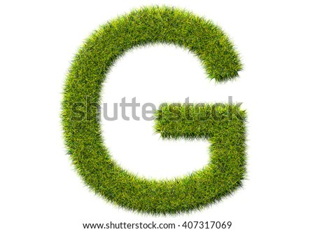 3D render grass and Font  G on white background.